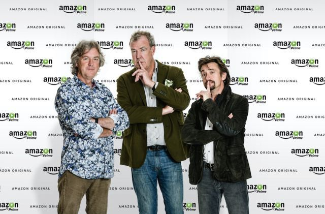 James May (left), Jeremy Clarkson (middle), and Richard Hammond (right).