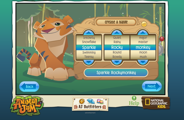 The name creation page for WildWorks' Animal Jam, an MMO targeted at kids to teach them about wildlife.