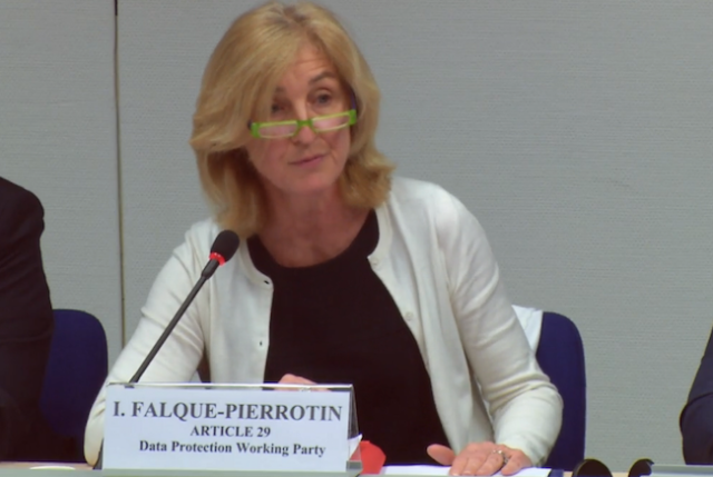 Isabelle Falque-Pierrotin, chairman of the Article 29 Working Party.