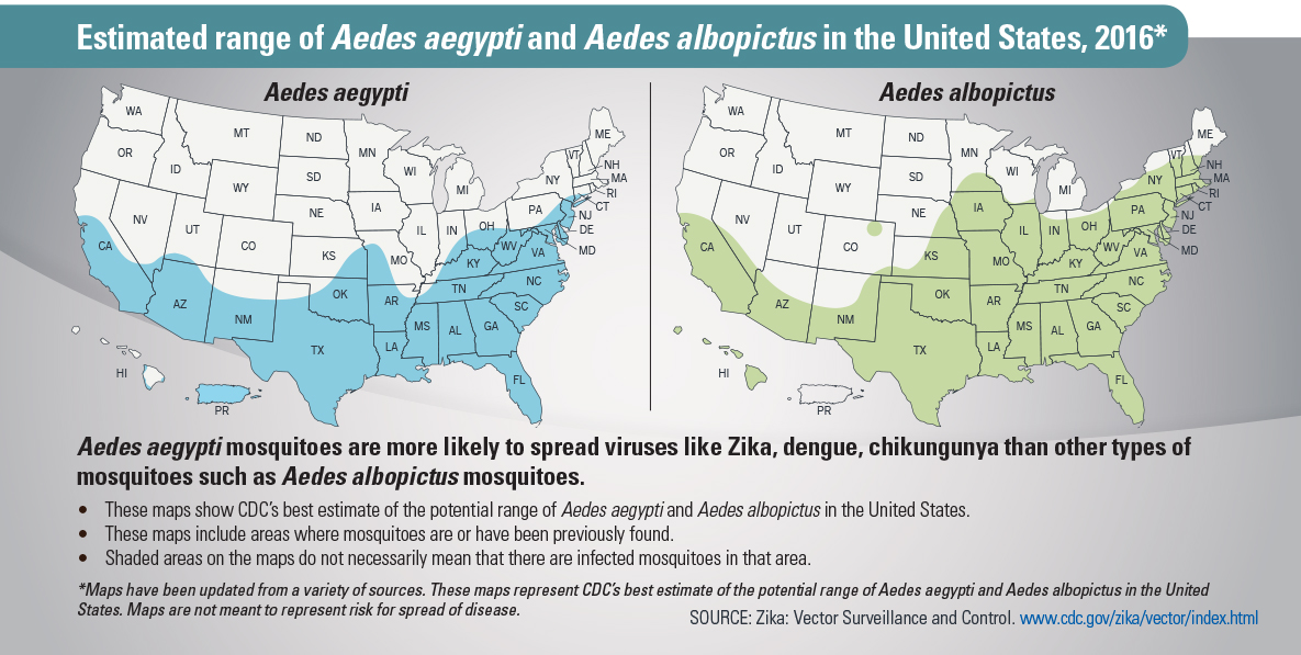 Estimated range of Aedes aegypti and Aedes albopictus in the United States, 2016.