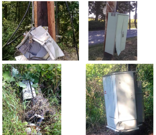 Poorly maintained equipment, as shown in a union complaint about Verizon maintenance.