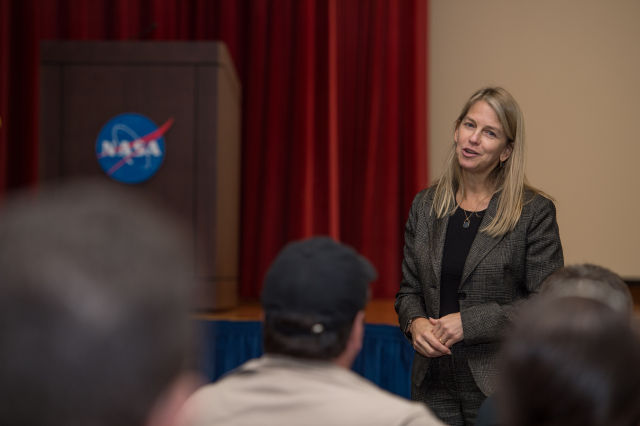 NASA Deputy Administrator Dava Newman speaks to NASA Social attendees at Kennedy Space Center in December.