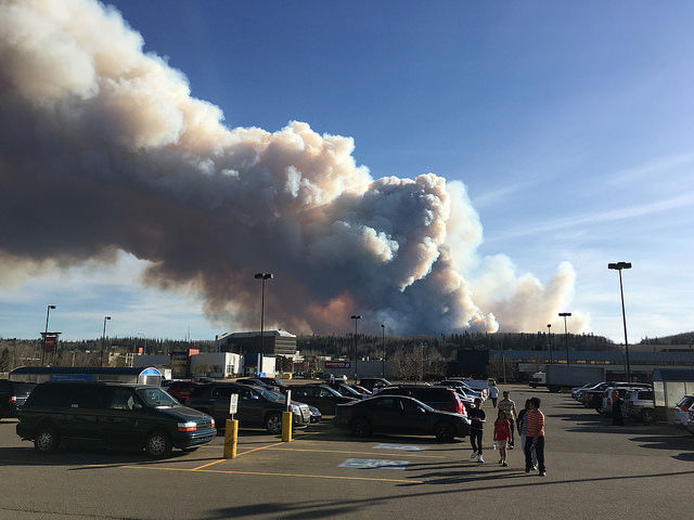 Fires rage in Fort McMurray, Alberta, on May 1.