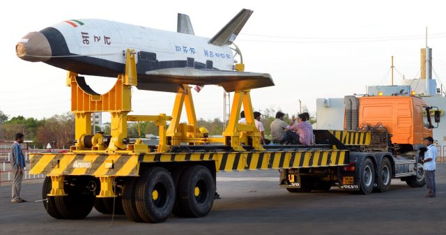 The RLV-TD vehicle on the ground, before being mated to its booster