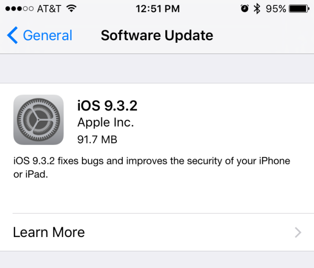 iOS 9.3.2 is here, fixes iPhone SE Bluetooth problems and other bugs