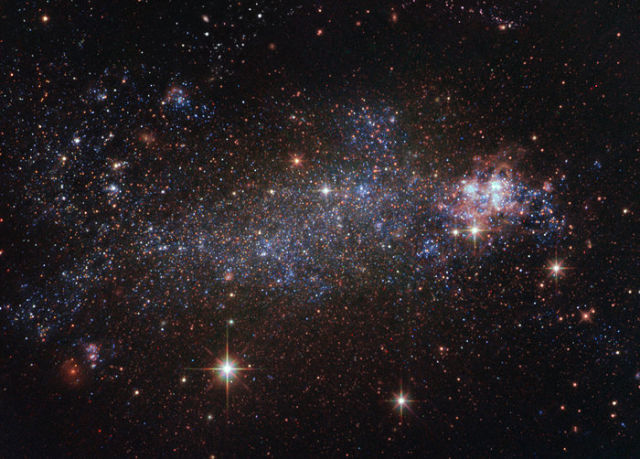 NGC 5408, irregular galaxy and host to one of the ULXs involved in the present study, captured by the Hubble Space Telescope.