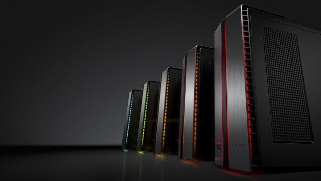 The HP Omen desktop showing off its LED illumination.