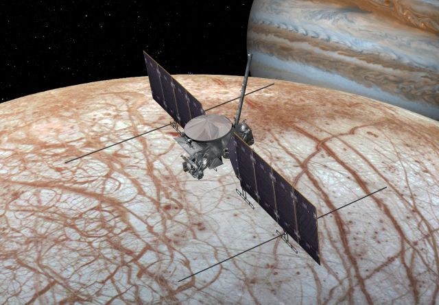 Concept art for NASA's flyby mission to Europa.