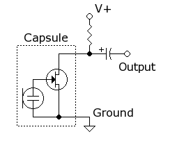 A peek at the typical electret microphone preamp circuit.