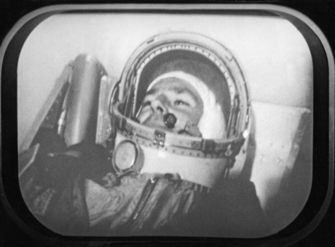 Soviet cosmonaut Gherman Titov in the space capsule, Vostok 2 mission. This is a still from the documentary film <em>To the Stars Again</em>.