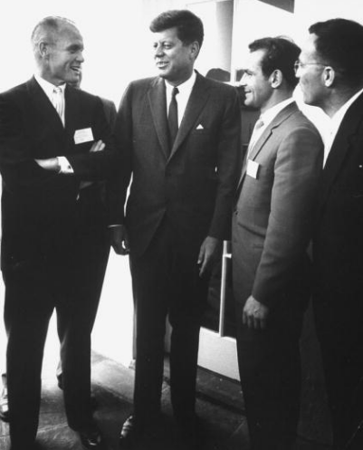 JFK meets with John Glenn and Titov in 1962.
