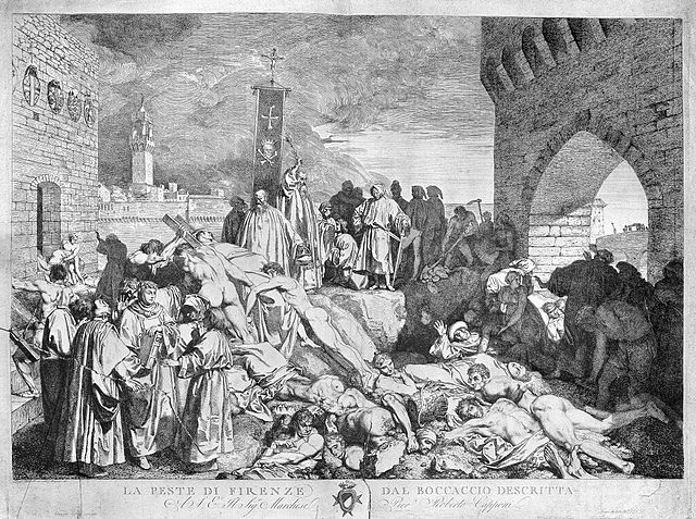 The plague of Florence in 1348, as described in Boccaccio's Decameron.