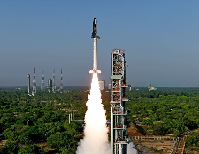 India's RLV-TD winged body spacecraft takes off May 23. It marked the country's first significant step toward developing a reusable launch vehicle.