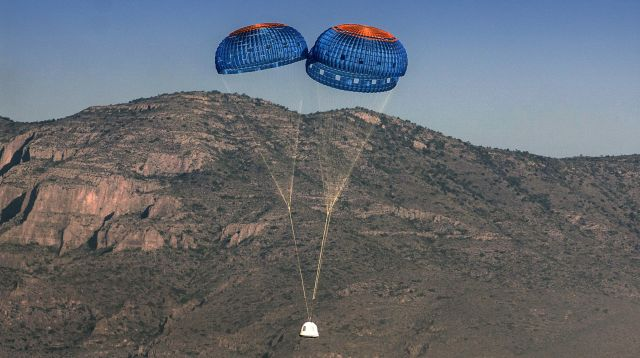 Normally Blue Origin's New Shepard spacecraft would require three parachutes to land.