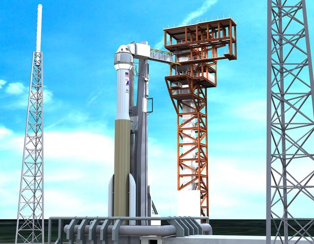 An artist's impression of the Boeing Starliner spacecraft atop an Atlas V rocket.