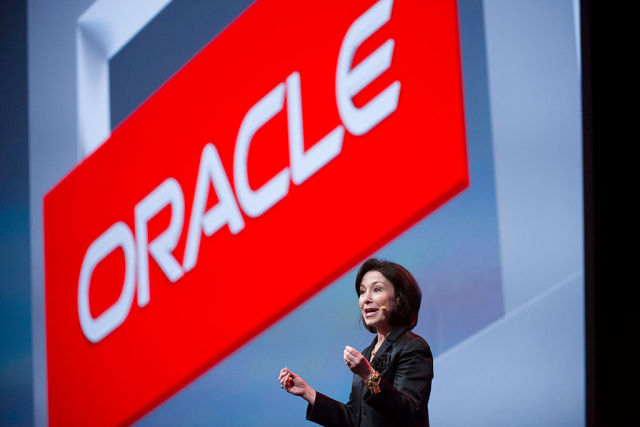 Safra Catz, co-CEO of Oracle Corp., speaks during the Oracle OpenWorld 2014 conference in San Francisco.