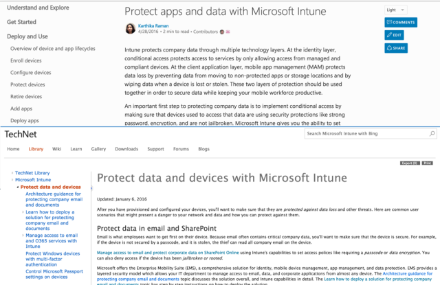 Above: the new docs.microsoft.com appearance. Below: the same article in old TechNet.