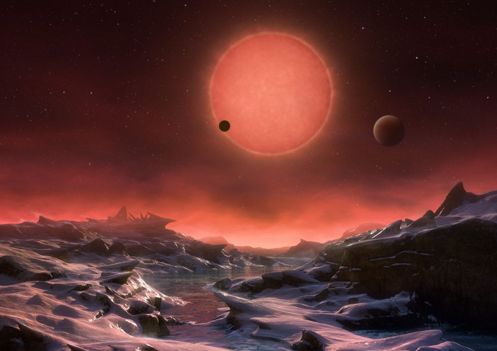 Astronomers have found three Earth-size worlds around a cool star just 40 light-years from the Sun.
