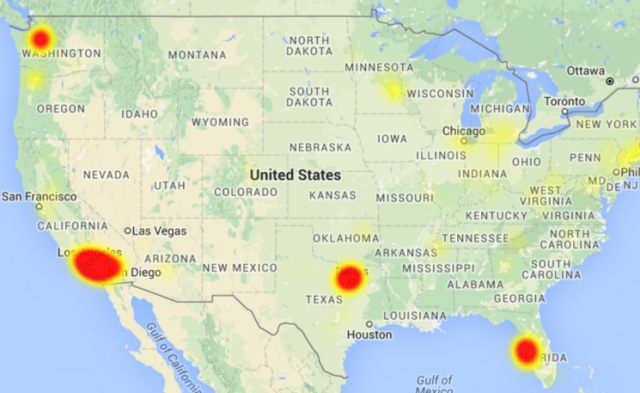 A visualization of Frontier outage reports on DownDetector.