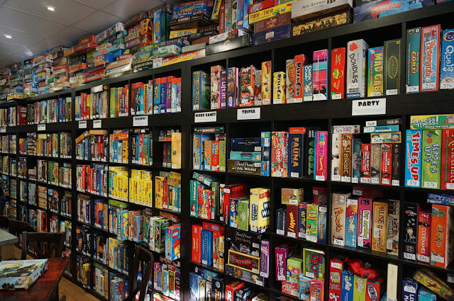 Behold Thirsty Meeples in Oxford, where you can find boardgames as far as the eye can see.
