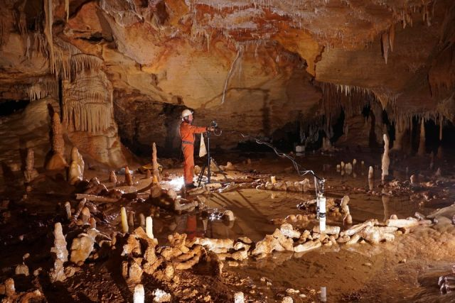 Inside Bruniquel Cave, where scientists have discovered an elaborate stone structure created by Neanderthals more than 175 thousand years ago.