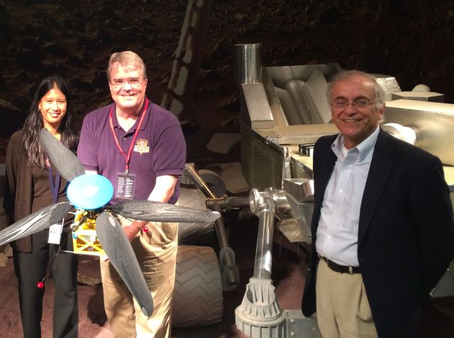 John Culberson, center, holds a prototype of the Mars helicopter. On the left is Mimi Aung, deputy division manager for autonomous systems at NASA-JPL, and on the right is JPL Director Charles Elachi.