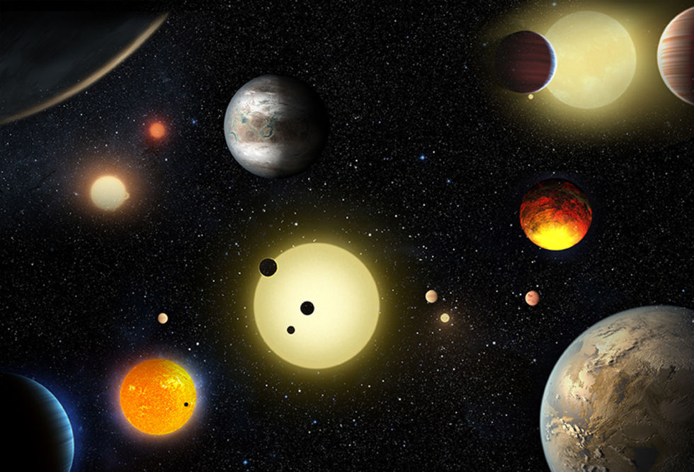 An illustration of what some of the new exoplanets announced today may look like, along with their host stars.
