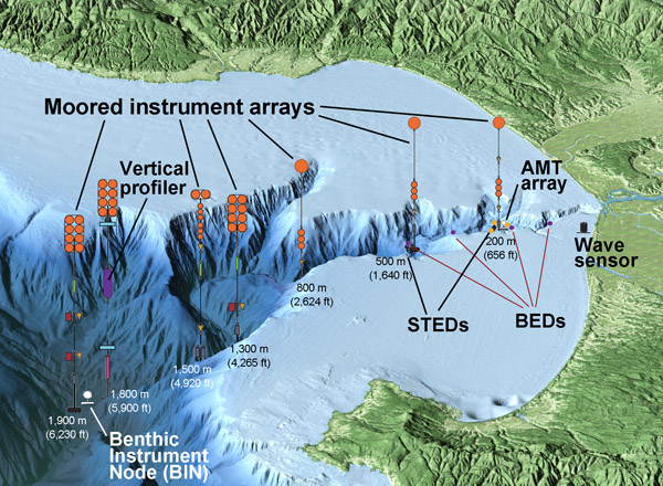 This aerial view of Monterey Bay from the south was created by combining computer-generated topographic and bathymetric data. Vertical relief has been exaggerated to better show the Monterey Canyon and mountains on either side of the bay.