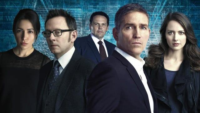 Our season 5 cast, including Shaw (Sarah Shahi), Finch (Michael Emerson), Fusco (Kevin Chapman), Reese (Jim Caviezel), and Root (Amy Acker).