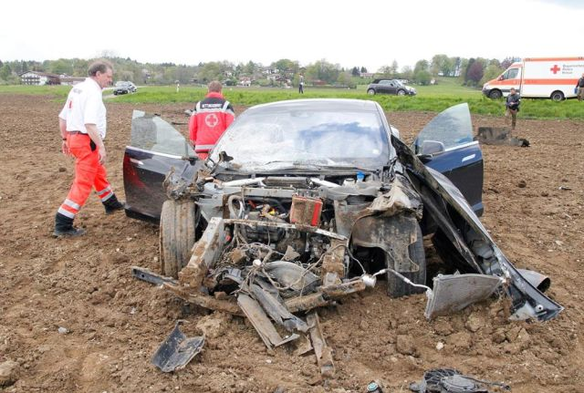 What's left of the Model S after a teenager crashed and then rolled it into a field.