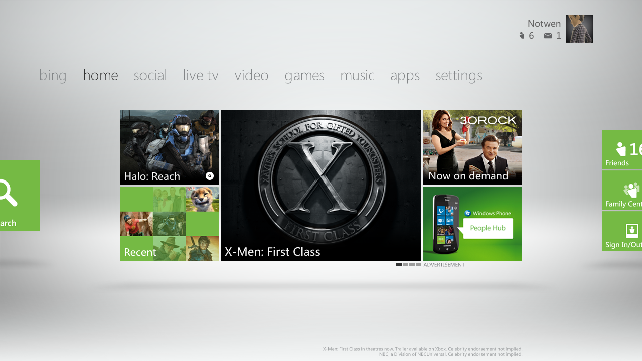 The Xbox 360's 2011 dashboard update.