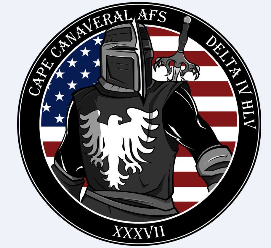 This is the official patch from the National Reconnaissance Office for the NROL-37 mission. We have to wonder at the sword handle design, with its Falcon talons, which sure looks a lot like a Falcon 9 landing at sea.