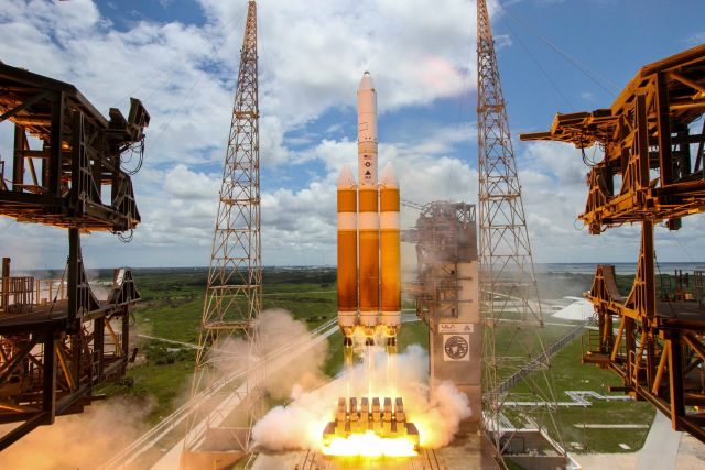 A Delta IV Heavy rocket launches a national security satellite in 2016.