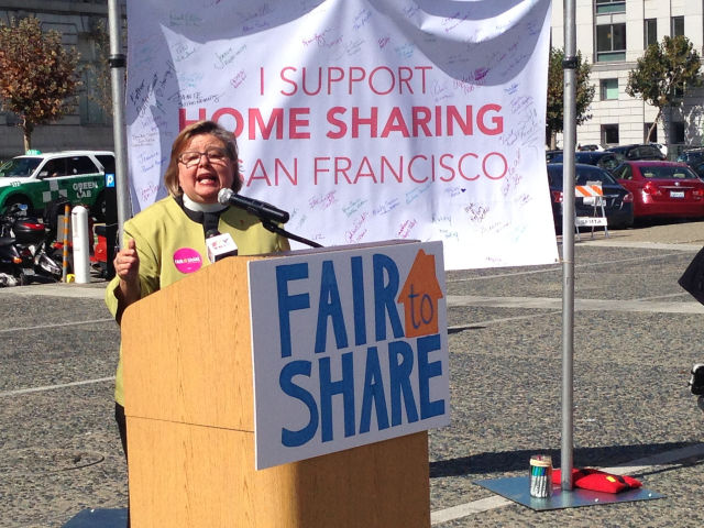 Members of HomeSharersSF, speaking at a rally at City Hall in San Francisco before the big vote on the Airbnb Law in October 2014.