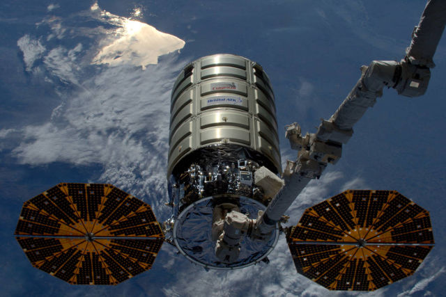 Orbital ATK's Cygnus cargo craft is released by the International Space Station.