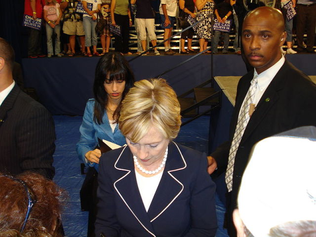 Huma Abedin with Hillary Clinton on the campaign trail in 2008. Abedin was grilled about Clinton's e-mail proclivities by a Judicial Watch attorney this week.