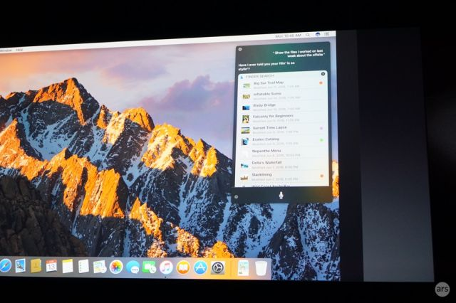 Siri search results in macOS.