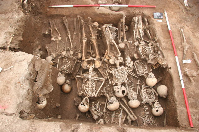 The mass plague grave site in Ellwangen, Germany, which was dated to between 1486 and 1627.