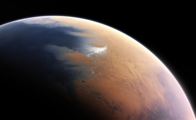 This artist's impression shows how Mars may have looked about four billion years ago, when it would have been more conducive to life.