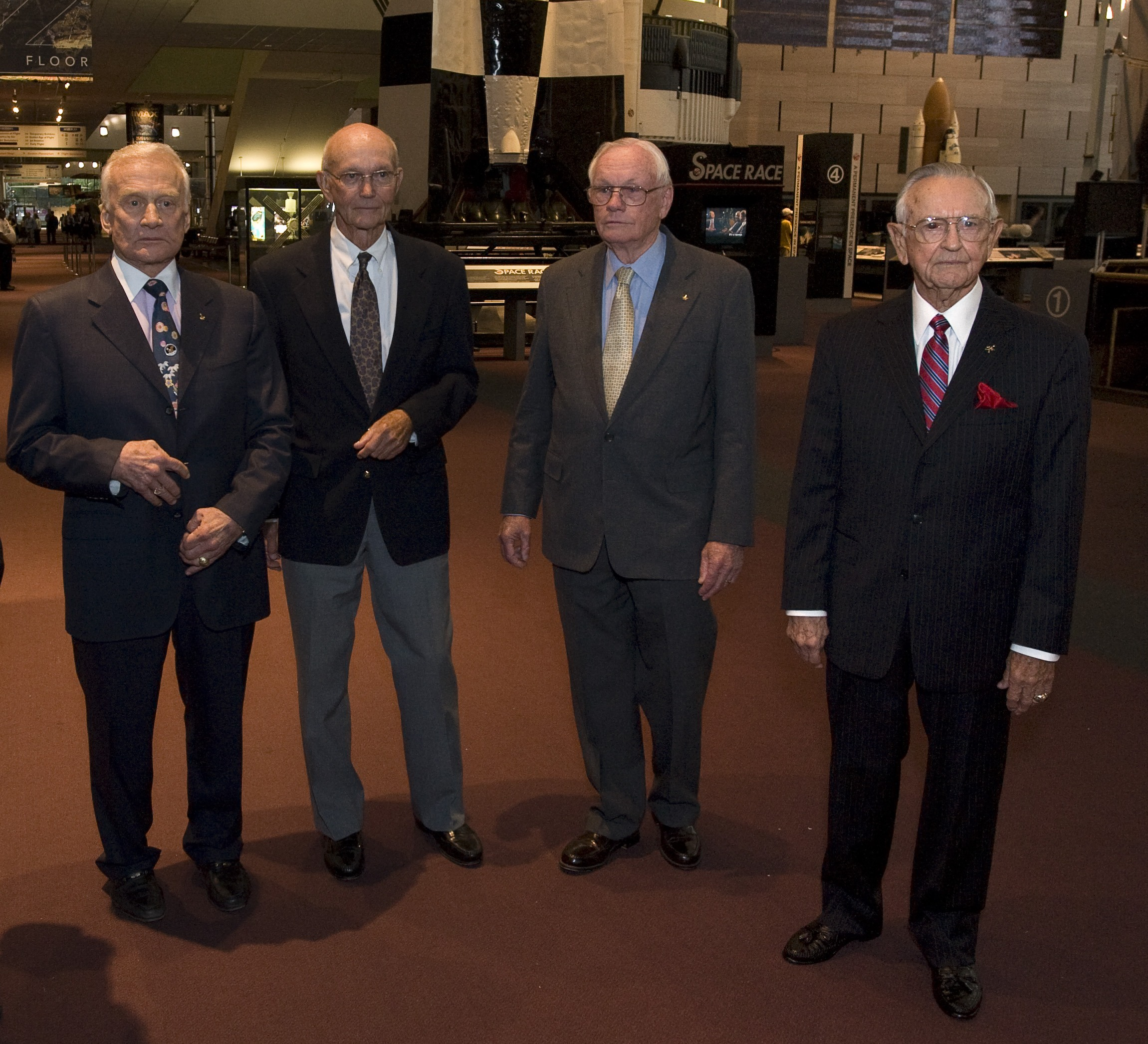 On the eve of the 40th anniversary of the first human landing on the Moon, <em>Apollo 11</em> crew members, Buzz Aldrin, left, Michael Collins, and Neil Armstrong and NASA Mission Control creator Chris Kraft, right, during their visit to the National Air and Space Museum on July 19, 2009.