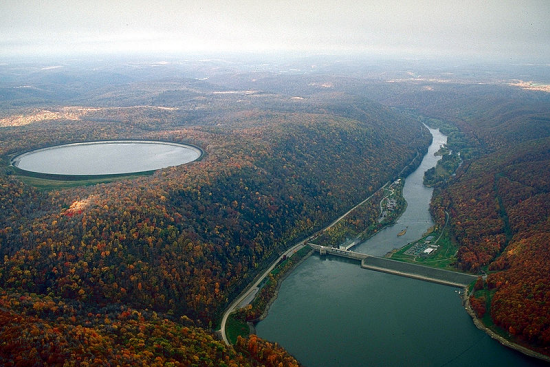 A dam with a pumped hydro storage reservoir in Pennsylvania.
