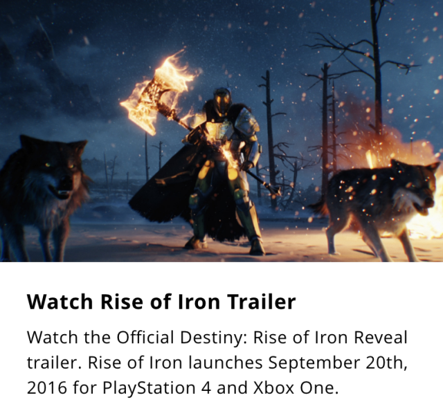 This teaser for the new <em>Destiny</em> expansion was taken down from the game's British site shortly after it was posted on Wednesday.