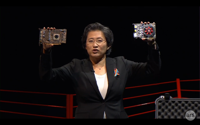 AMD CEO Lisa Su shows off two new Polaris 14mm process video cards. Boy, the RX 460 and RX 470 sure are tiny, ain't they?