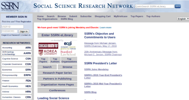 Elsevier recently acquired the Social Science Research Network.