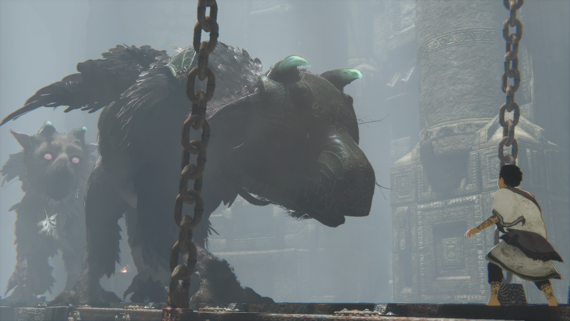 This Sony-provided scene of multiple Trico-beasts definitely was not in my demo.