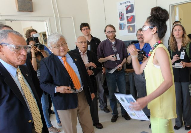 NASA Administrator Charles Bolden, left, and US Representative Mike Honda, center, tour the NASA Ames SpaceShop.