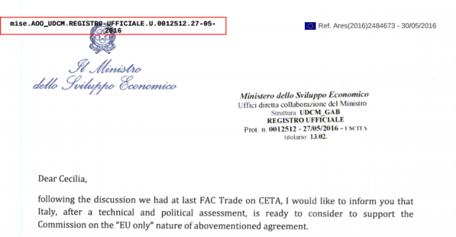 Italy to block democratic vote on CETA for 500 million Europeans, according to leaked letter