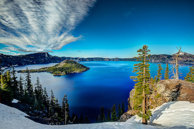 Crater Lake National Park, Oregon, the site of some of Casey Nocket's vandalism. Story below includes links to some of the defacements.
