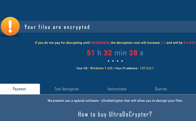 A screenshot from the latest version of CryptXXX.