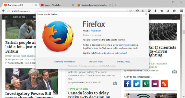 Firefox 48 finally enables Electrolysis for multi-process goodness